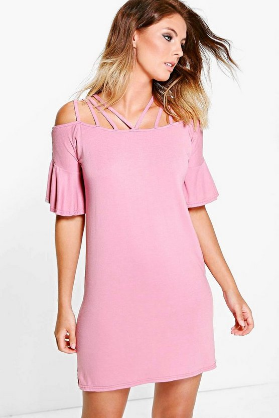 Frankie Strappy Neck Flare Sleeve Dress