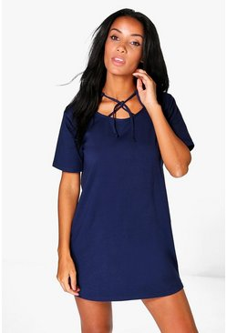 Una Caged Detail Neck Shift Dress