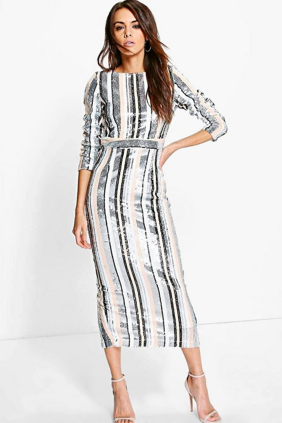 Boutique Lottie Striped Sequin Midaxi Dress