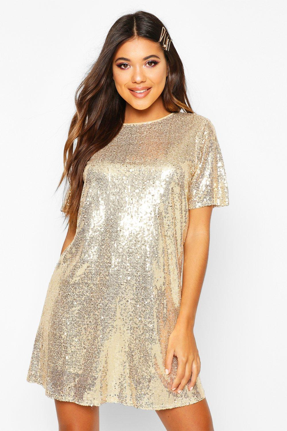 Boutique Lacey Sequin T-Shirt Dress