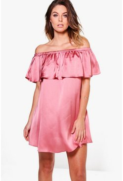 Kyra Satin Frill Off Shoulder Shift Dress
