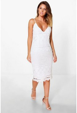 Boutique Riana Crochet Midi Bodycon Dress