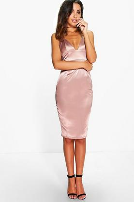 Hillary Satin Strappy Plunge Bodycon Dress
