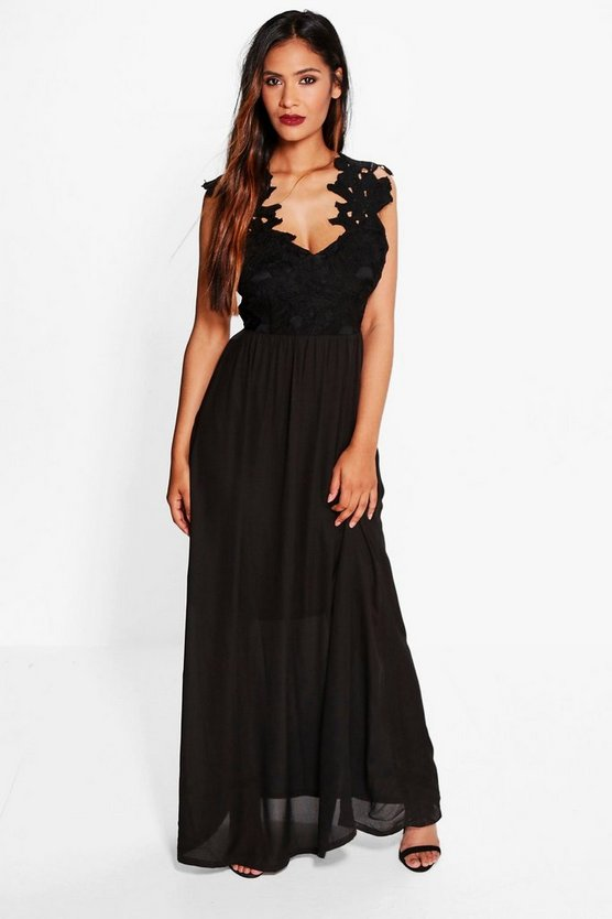 Boutique Ula Crochet Lace Maxi Dress