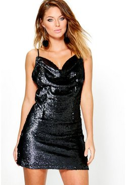 Boutique Inya Sequin Cowl Neck Slip Dress