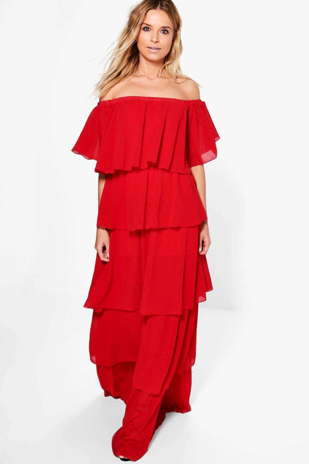 Amiee Off Shoulder Ruffle Maxi Dress