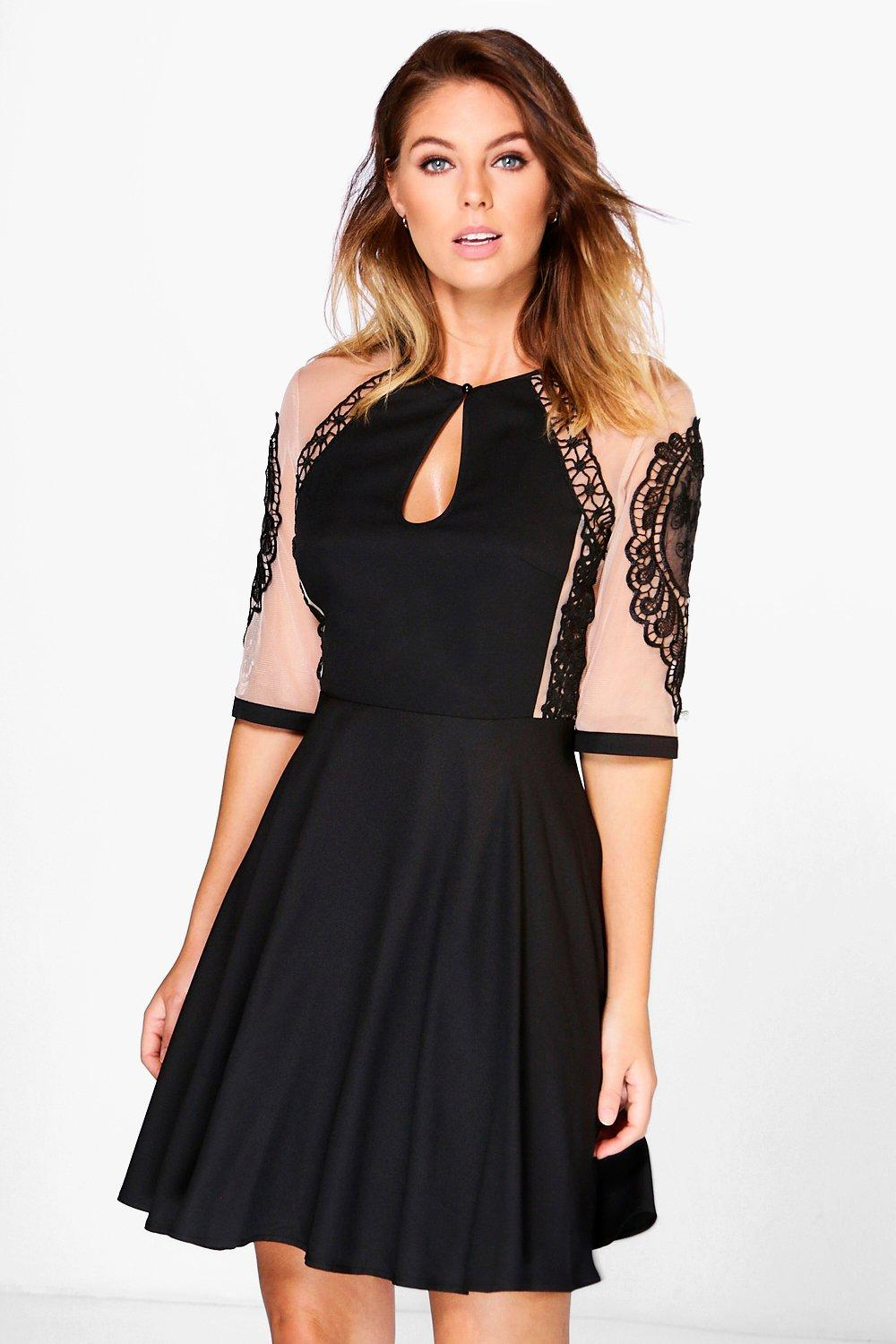 Polly Mesh and Lace Panelled Skater Dress