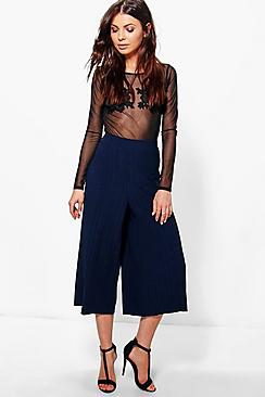 Xandra Pleated Crepe Wide Leg Culottes