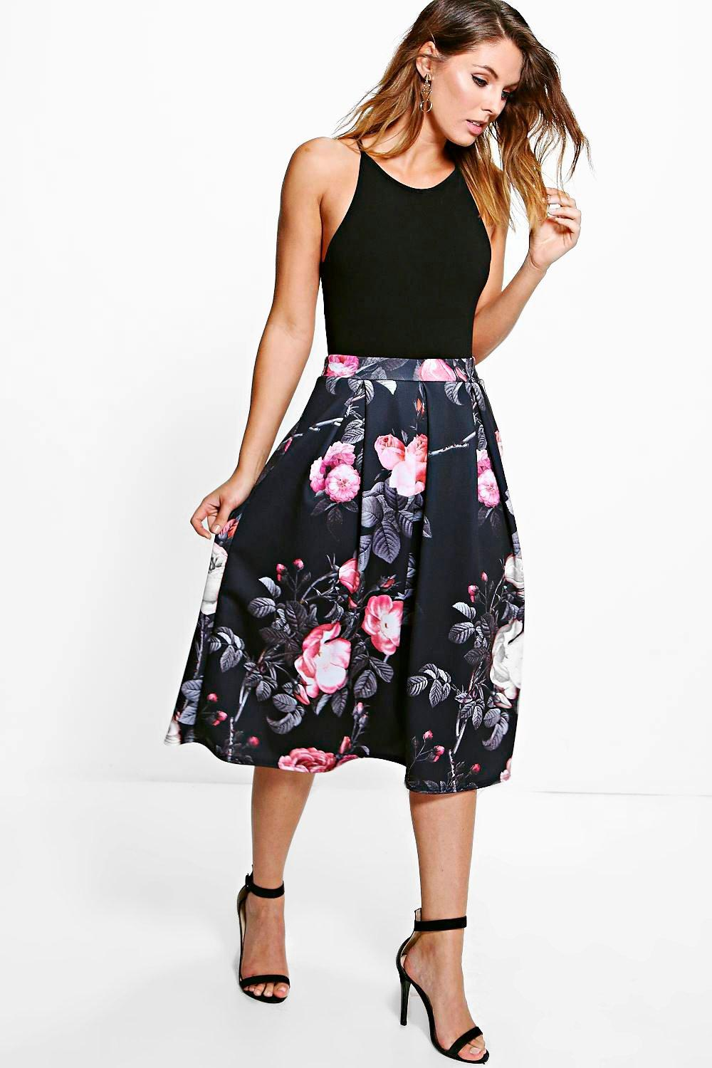 Suki Dark Floral Digital Print Full Midi Skirt