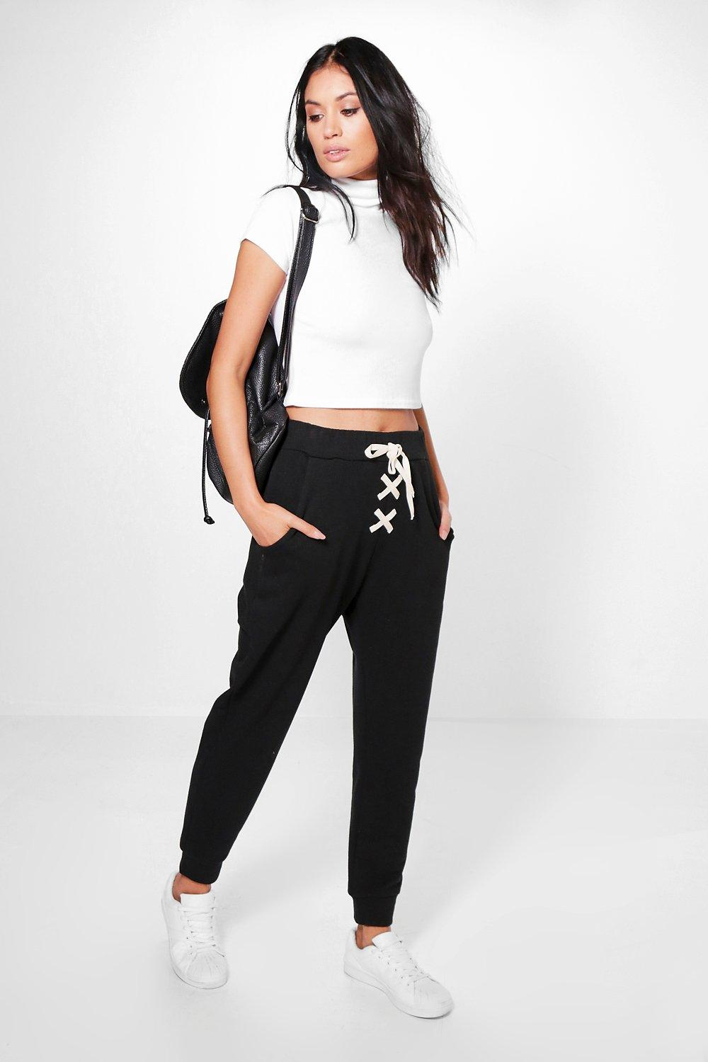 Lace Up Loopback Joggers black