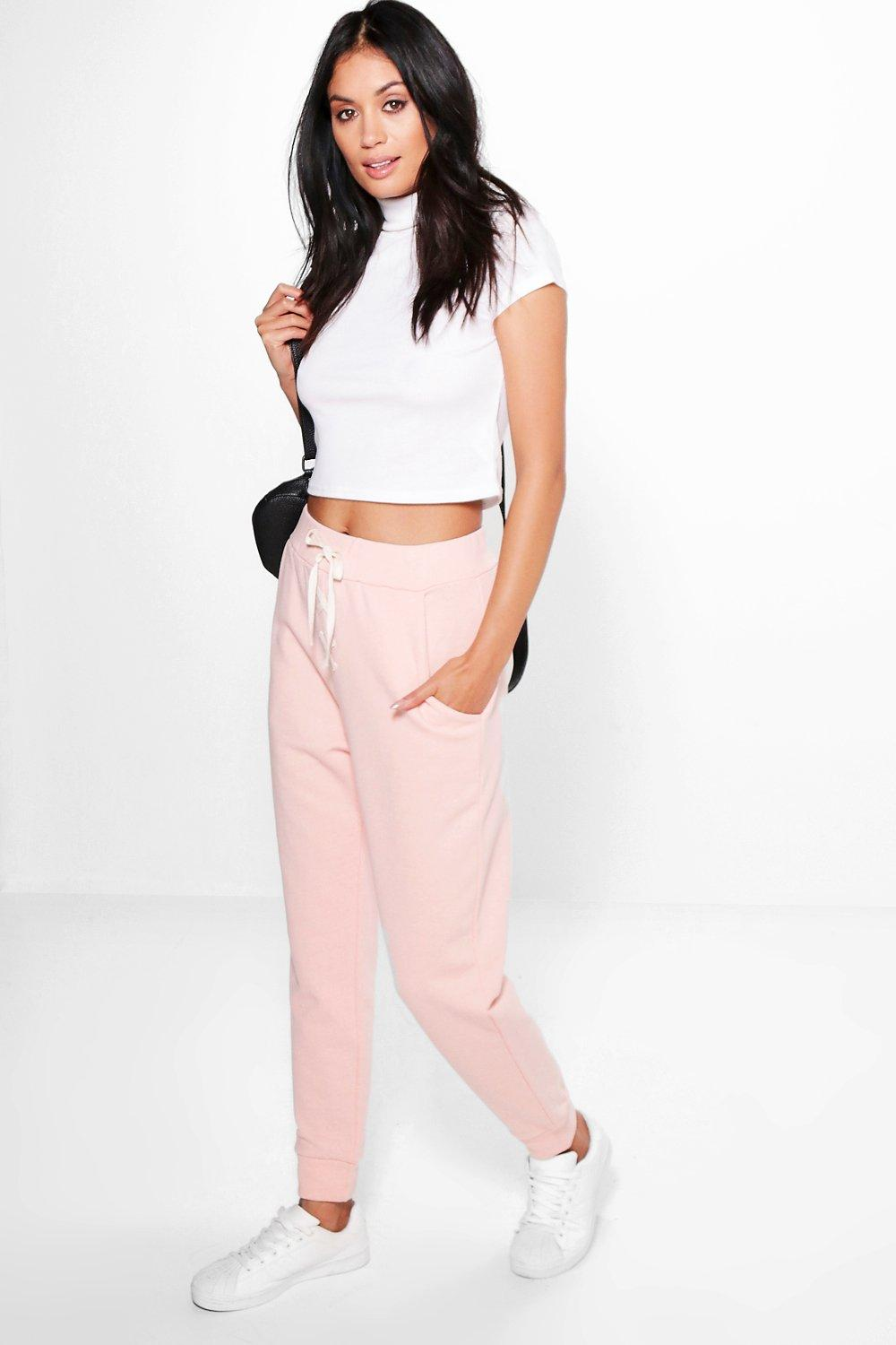 Lace Up Loopback Joggers rose
