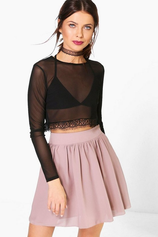 Sari Chiffon Skater Mini Skirt