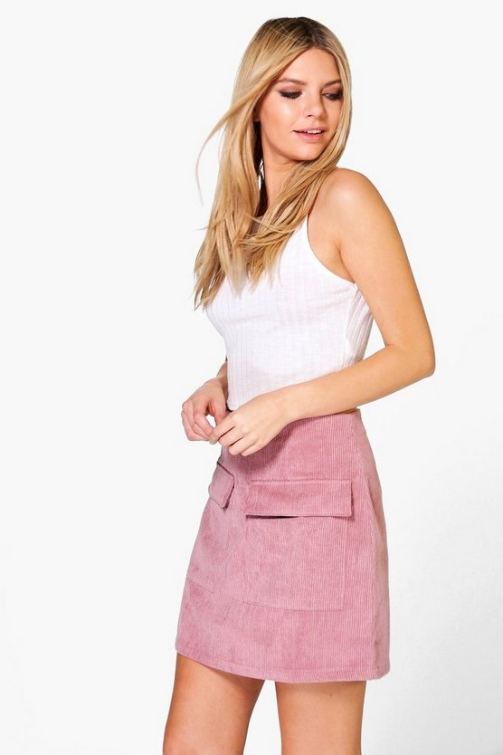 Valentina Jumbo Cord Pocket Front Mini Skirt