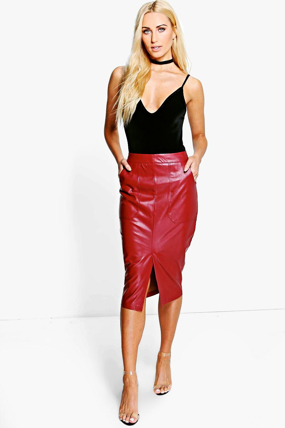 Ishani Pocket Front Leather Look Midi Skirt
