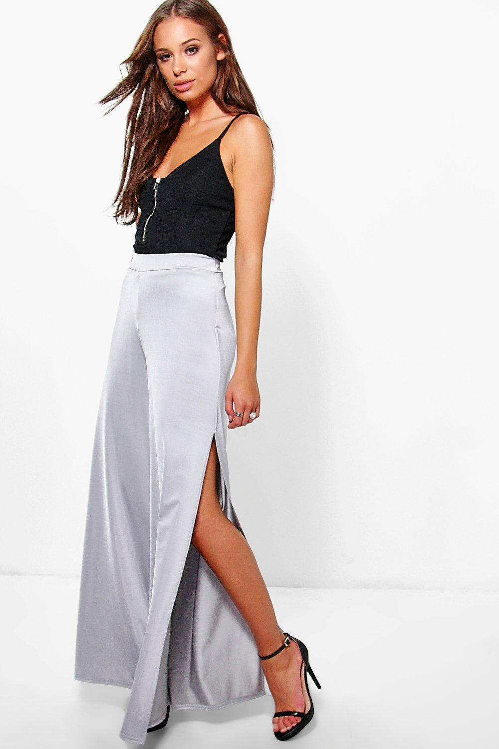 Amelle Slinky Side Split Wide Leg Trousers