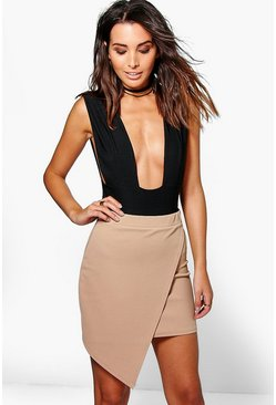 Kira Wrap Front Asymetric Mini Skirt