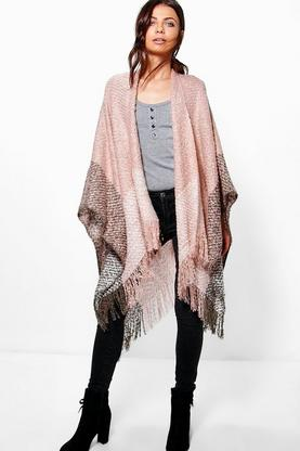 Lexi Colour Block Boucle Cape