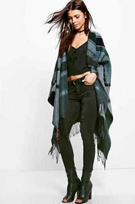 Brooke Stripe Tassel Cape