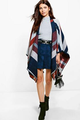 Bella Stripe Poncho Cape