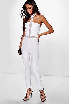 Jen High Neck Crochet Detail Jumpsuit