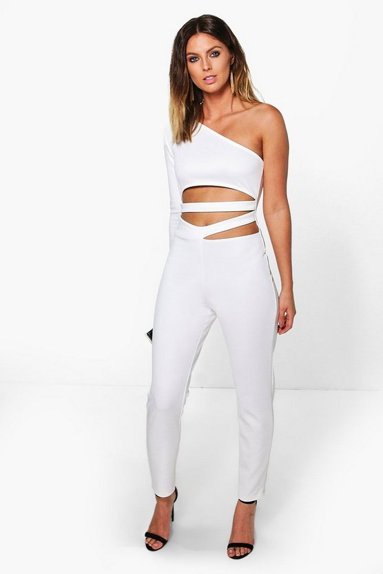 Kate One Shoulder Cut Font Skinny Leg Jumpsuit