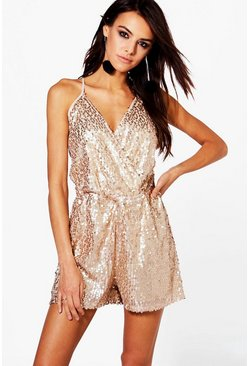 Boutique Ria All Over Sequin Cami Playsuit