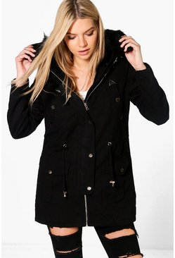 Lily Boutique Faux Fur Lined Parka