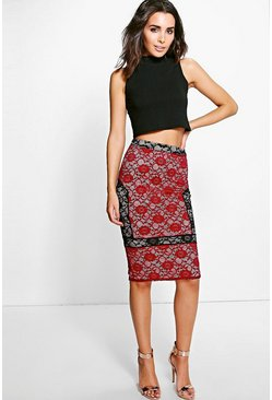 Anya Panelled Lace Midi Skirt