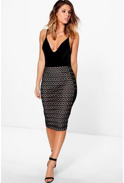 Luna Velvet Flocked Lace Midi Skirt