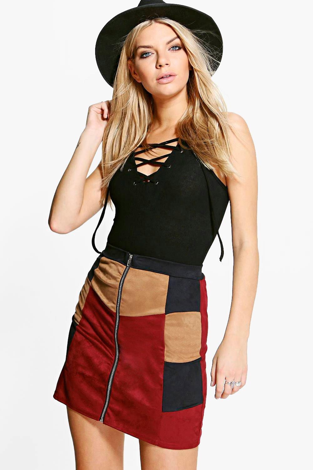 Viola Suedette Patchwork Mini Skirt