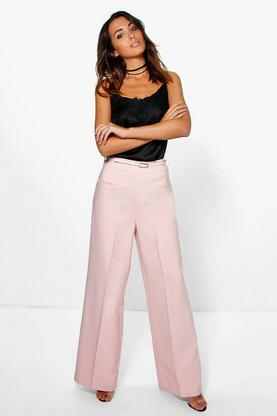 Naomi Belted Wide Leg Woven Tailored Trousers