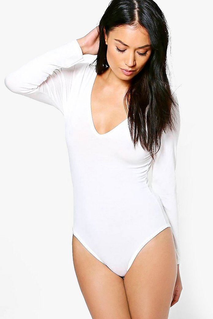Leah Basic Long Sleeve V Neck Body