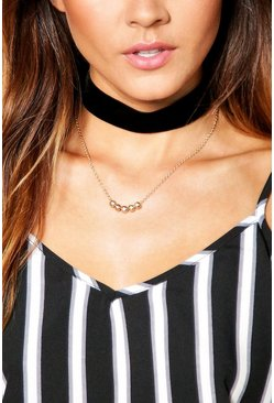 Tia Velvet Choker And Skinny Layered Necklace
