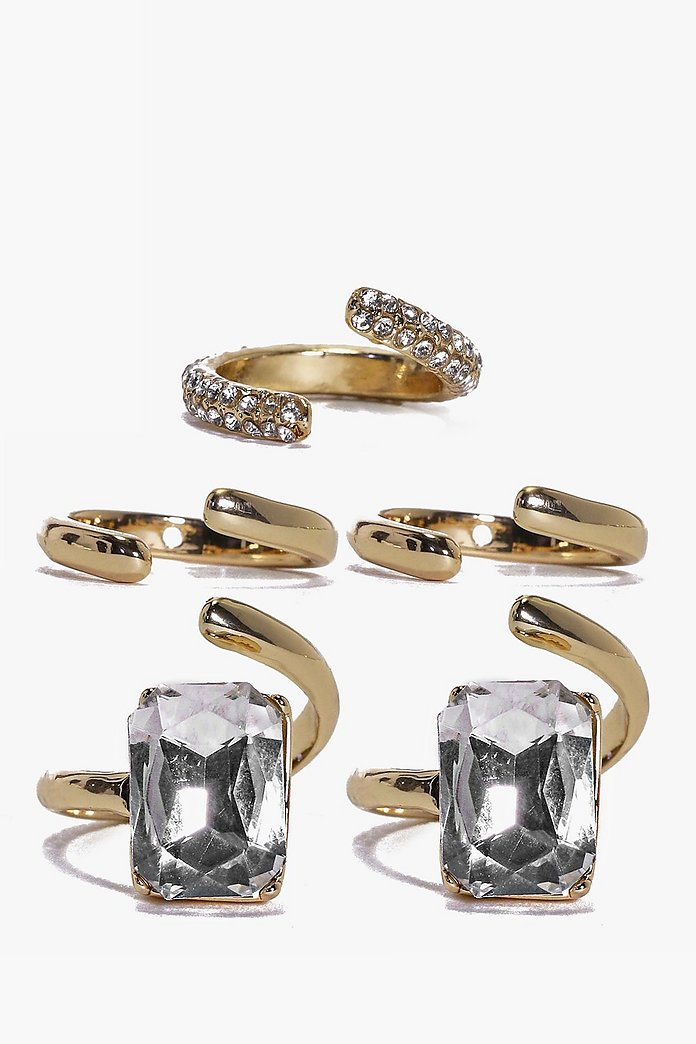 Lara Glam Diamante Multi Size Ring Pack