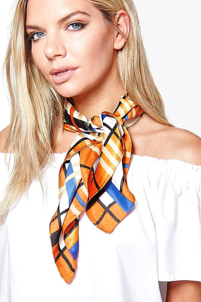 Eva Check Satin Neckerchief Bandana
