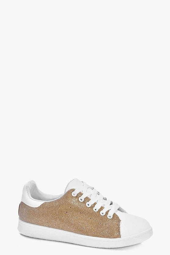 Amy Glitter Contrast Toe Trainer