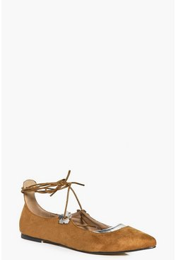 Zoe Floral Trim Tie Lace Up Pointed Flat
