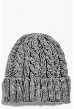 Lena Basic Cable Turn Up Knit Beanie