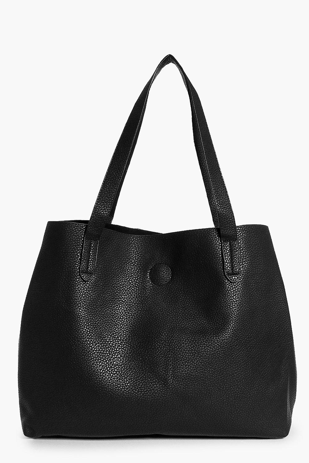 Basic Popper Shopper Bag - black - Victoria Basic
