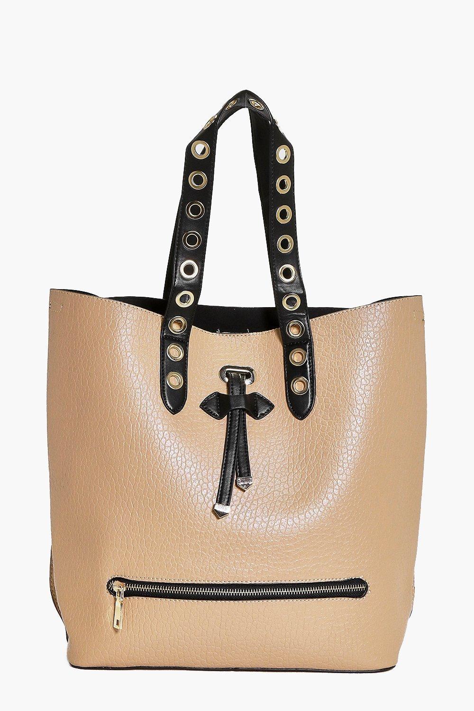 Eyelet Detail Shopper Day Bag camel