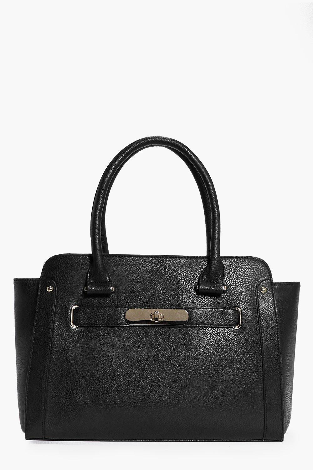 Oversize Turn Lock Clasp Day Bag black