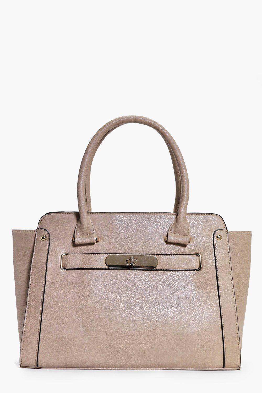 Oversize Turn Lock Clasp Day Bag camel