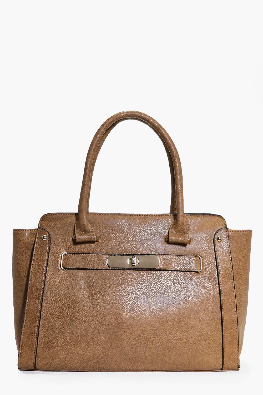 Oversize Turn Lock Clasp Day Bag tan