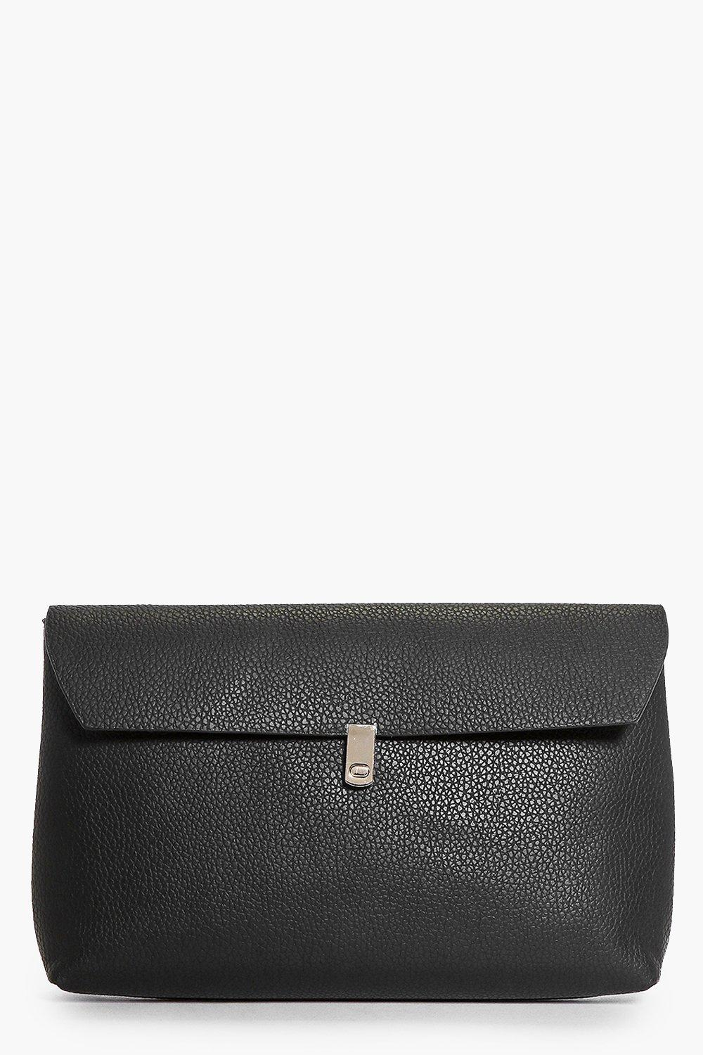Simple Fold Over Clasp Detail Clutch Bag black
