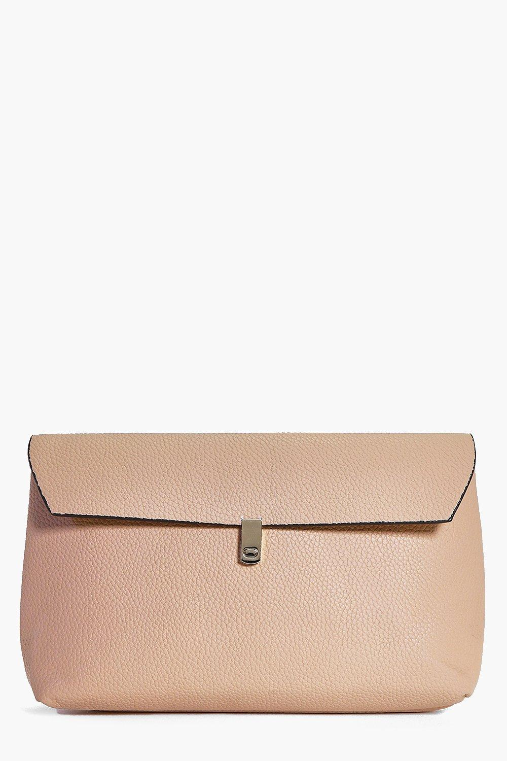 Simple Fold Over Clasp Detail Clutch Bag camel
