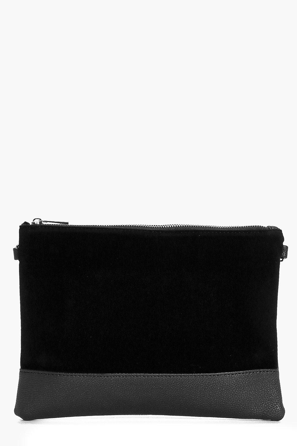 Contrast Texture Clutch Bag black