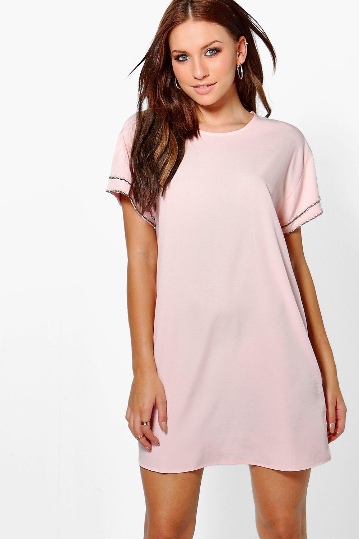 Embellished Sleeve Shift Dress  blush