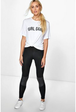 Lane Panelled Wet Look Leggings