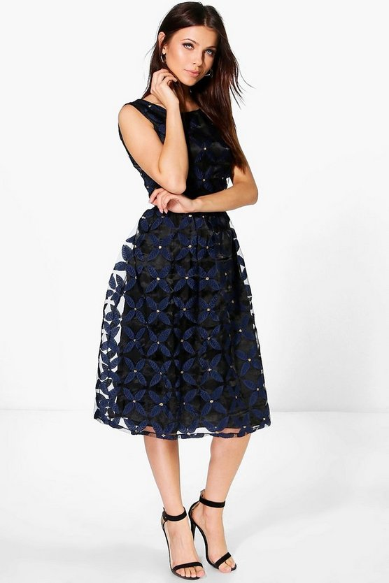 Sandi Embroidered Floral Midi Skater Dress