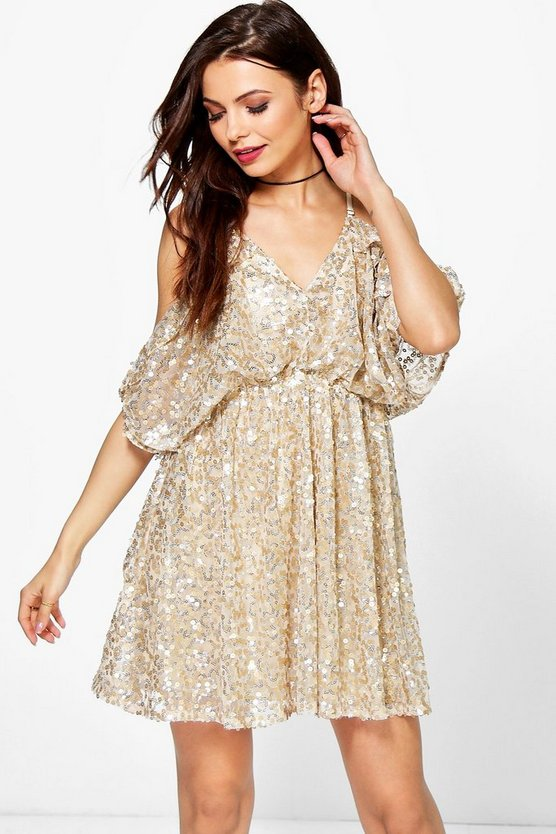 Kitty Sequin Open Shoulder Skater Dress